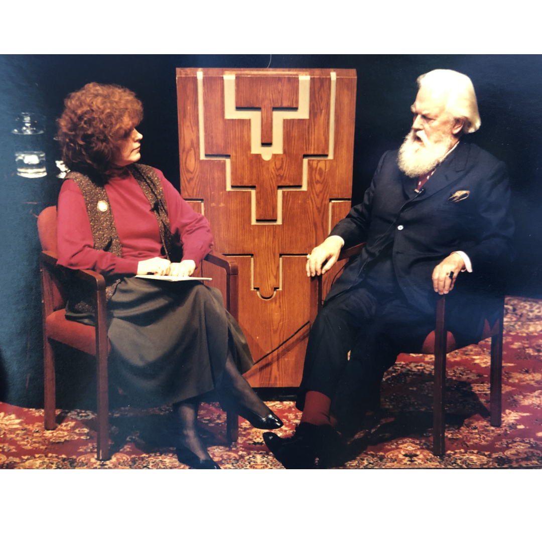 Seated interview with Robertson Davies in 1988