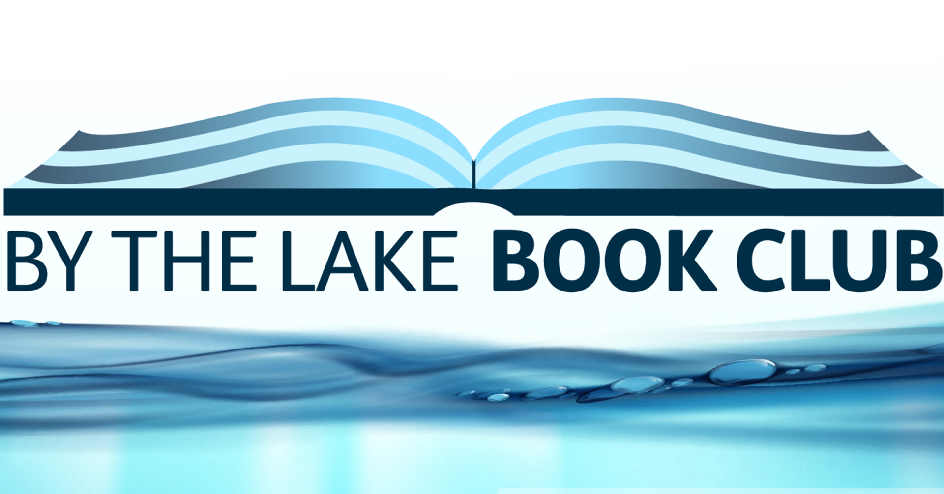 By The Lake Book Club Logo, includes open book about title and clear water underneath